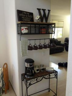 Coffee bar. (Pic only, but I'd love to know where that shelf came from)