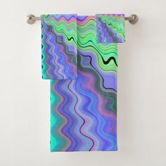 Pastel Ripples Bath Towel Set - home gifts ideas decor special unique custom individual customized individualized