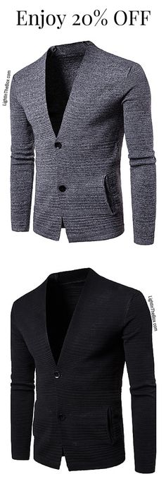 Casual formal V neck two button men cardigan to look professional and stay warm. Fins it in light grey and dark grey colours at just $19.99.  Click on the picture to shop.