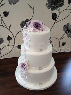 Pretty Purple and Lilac Wedding Cake.