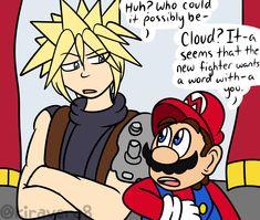 Video Games Funny, Funny Games, Mario Comics, Super Smash Ultimate, Nintendo Super Smash Bros, Nintendo Characters, Cartoon Crossovers, Cloud Strife, Nice To Meet