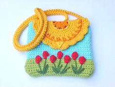 Crochet girls' purse pattern, flower purse, PDF pattern by SpringFresh on Etsy