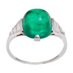 Antique Cabochon Emerald Diamond Platinum Ring | From a unique collection of vintage more rings at https://www.1stdibs.com/jewelry/rings/more-rings/