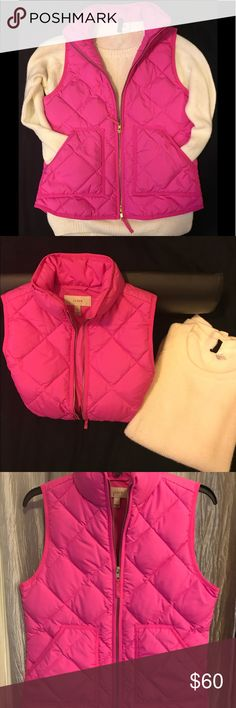 J.Crew Quilted Puffer Vest Xsmall Pre loved J.Crew Quilted vest in hot pink xsmall. In great condition. J. Crew Jackets & Coats Vests