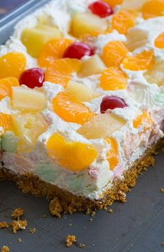 Ambrosia Salad Squares! The perfect way to eat ambrosia salad - with a graham cracker crust!!