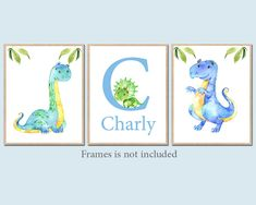 Letter Initial prints, Dinosaur Wall Decor, custom name watercolor set of 3 Canvas Print wall art Stickers Baby Boy Nursery Decor by irinnadesign on Etsy