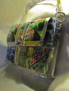 Whoa! This bag is made from Mountain Dew cans.