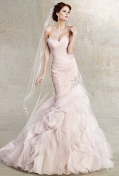 Bridal Sense - ICE PINK strapless Asymmetrical Organza Wedding Gown $1,499.00