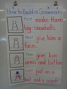 How To Build a Snowman: use either sequencing words or ordinal numbers