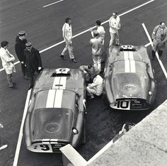 Two AC Shelby Cobra Daytona Coupe on the starting line, at the 24 Heures du Mans 1965. Grant and Gurney on the car 9 and Johnson and Payne on the car 10.