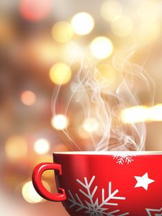 Steaming christmas mug on a bokeh lights background Free Photo By kjpargeter / F. Super Super Steaming christmas mug o.