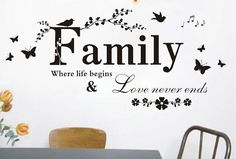 Removable Vinyl Family Quote Wall Decal Quotes Wall Art Home Wall Sticker - Family Life Quote by CustomWallDecal