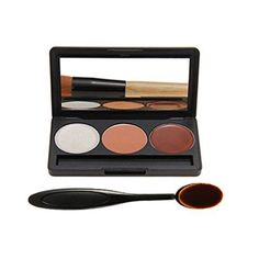 DELANCI Professional 3 Colors Face Cream Concealer Camouflage Foundation Palette Professional Makeup Kit Set with Oval Make up Brush 3 colors ** Check out this great product.