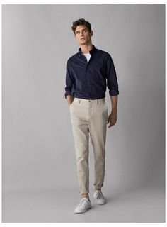SLIM FIT TEXTURED WEAVE CHINO TROUSERS - Men - Massimo Dutti #trousers #outfit #men #trousersoutfitmen Mens Chino Pants, Men Trousers, Man Pants, Chino Shorts, Chinos Men Outfit, Business Dress, Trend Fashion, Men's Fashion, Fashion Suits