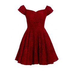 D.Anna Cap Sleeve Lace Skater Dress in Red (97 CAD) ❤ liked on Polyvore featuring dresses, lace dress, red dress, lace fit-and-flare dresses, little black dress and floral lace dress