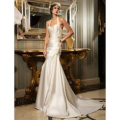 think this one is in the top. Sheath/Column Halter Court Train Satin Wedding Dress (612945)