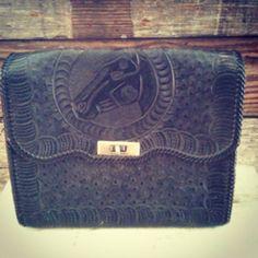 $42  #leather #handtooled #black #vintage #horse #purse