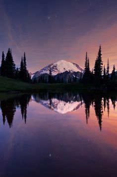 Mount Rainier Twilight by Ray Green