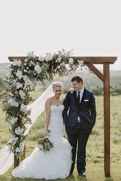 want to try make this with PVC pipe and rose gold spray paint Image via: HERE Stunning wedding arch with cascading floral arrangement in a neutral palette Formal Rustic Chic Byron View Farm Wedding Australia Photogra. Wedding Arch Rustic, Wedding Ceremony Arch, Wedding Canopy, Farm Wedding, Chic Wedding, Wedding Bells, Floral Wedding, Wedding Flowers, Dream Wedding