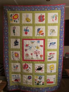 quilt for school auction fundraiser, kids 3-6 painted the blocks, I pieced and machine quilted
