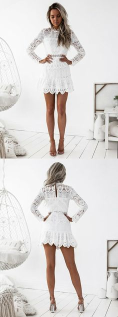long sleeve white homecoming dresses,short lace prom dress,simple party dress,fashion fall outfits