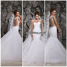 Wholesale Wedding Dresses - Buy Glamorous New 2014 Backless Wedding Dresses Sweetheart Mermaid Detachable Chapel Train Beaded Lace Applique Bridal Gowns $157.5   DHgate