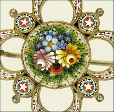 Antique Micro-Mosaic Italian Floral Pin. Sigh. I love micro mosaics, if only they didn't cost so much!