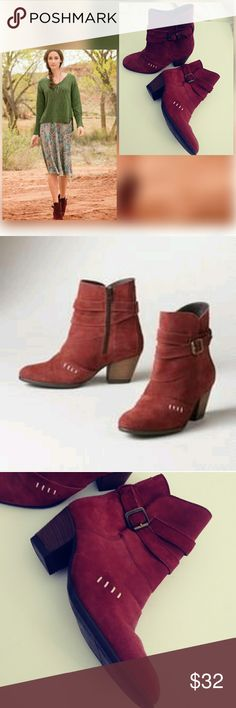 SUNDANCE (ROBERT REDFORD) RUE VERVAIN BOOTIES Sundance Rue Vervain suede rusr color booties with cross stitching & straps with a brass buckle. Slanted wood stacked heel. Runs small. Sundance Shoes Ankle Boots & Booties
