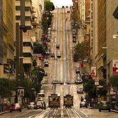 Улица в районе Ноб-Хилл, Сан-Франциско, Штат Калифорния, США