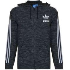 ADIDAS ORIGINALS Hooded Sweatshirt ($73) ❤ liked on Polyvore featuring tops, hoodies, long sleeve hoodies, sleeve hoodie, logo top, cotton hoodies and adidas originals