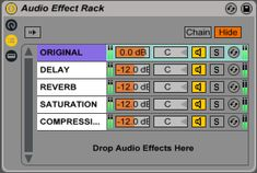 An Audio Effect Rack in Ableton Live performing various forms of parallel processing. Ableton Live, Music Production, Music Theory, Audio, The Originals