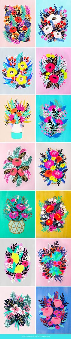 To no surprise, these bright, uniquely illustrated floral paintings immediately grabbed my attention when I saw them. With a personal drive to explore rich, bold colors,Jess Phoenixis a RISD graduate now living on the West coast and working forCompendiumcreatingwork for Target, Starbucks, and more.  Follow more of Jess here on Instagram and Twitter.