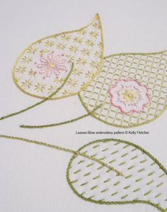 Leaves Blow modern hand embroidery pattern modern embroidery