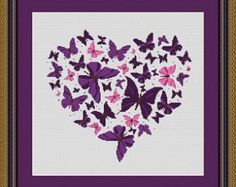 BUTTERFLY HEART/ coeur papillons Counted by LudivinePointDeCroix