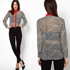 Women's Europe Celebrity Retro Print Shirts Stripe Triangle Tops Blouses