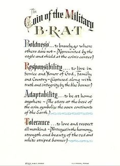 Military Brat coin and certificate Military Child Month, Military Brat, Army Brat, Military Gifts, Military Love, Military Spouse, Military Quotes, Military Retirement Parties, Retirement Ideas
