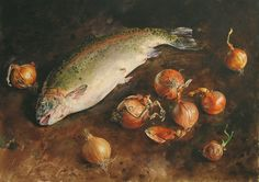 by Atanas Matsoureff, Watercolor,''Trout 43 x Watercolor Landscape Paintings, Watercolor Sketch, Watercolor Artists, Photoshop Filters, Elements Of Nature, Still Life Oil Painting, Still Life Art, High Art, Dark Backgrounds