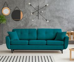 kihúzható kanapé Couch, Turquoise, Flat, Projects, Furniture, Home Decor, Log Projects, Homemade Home Decor, Sofa