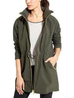 Misty Jacket from Athleta...for light rain. Love this forest green color and the cut (and the hidden hood!).