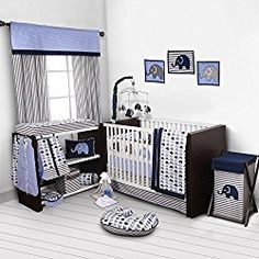 Bacati - Elephants Blue/Gray Nursery in a Bag Crib Bedding Set Cotton Percale Boys Crib Bedding Set with 2 crib fitted sheets (Bumper Pad not included) for US standard Cribs Elephant Crib Bedding Set, Blue Bedding Sets, Boy Nursery Bedding, Elephant Nursery, Girl Nursery, Elephant Baby, Nursery Room, Nursery Decor, Baby Bedroom