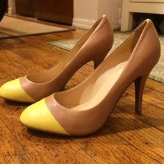 """J.Crew Mona colorblock pumps SOooo cute and fun! The perfect amount of pop--I love the neon yellow cap toe and stripe up the back! Excellent condition--worn literally once! Beautiful soft leather made in Italy. 4"""" heels but pretty easy to walk in (and I don't wear heels much!). They're an 8.5 but I'd say they run slightly small because I'm an 8/8.5 (usually an 8 in dressy shoes) and they're a tiny bit snug in the toes. Skirt and top in 4th photo also available in separate listings :) J. Crew…"""