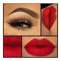 Valentine's Day Makeup Ideas Neutral Smokey Eyes with Bold Red Lips... ❤ liked on Polyvore featuring beauty products, makeup, lip makeup, beauty, lips and lipstick