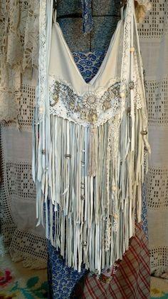 Handmade Off White Leather Fringe Cross Body Bag Vintage Lace Hobo Boho tmyers #Handmade #MessengerCrossBody