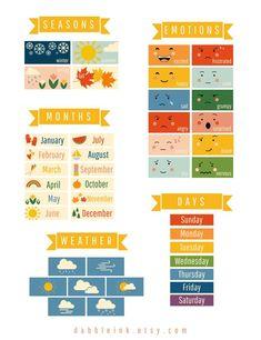 Daily Calendar, Kids Calendar, Toddler Calendar, Daily Routine Chart, Weather Cards, Chore Cards, Temperature Chart, Morning Board, Emotional Awareness