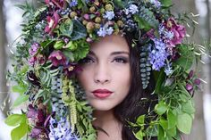 Gorgeousness!.... Fresh Floral Headdress In A Color Palette Of: Greens/Purples/Lavenders/Pinks/Blues... Purple & Pink Clematis, Blue Muscari Hyacinth, Lavender Hyacinth, Wild Raspberries, Dark Blue Privet Berries, Green Amaranthus, + Several Misc. Varieties Of Greenery/Foliages××××