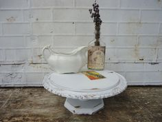 White Cake Pedestal Stand  Wedding  Shabby Chic  by KnickofTime