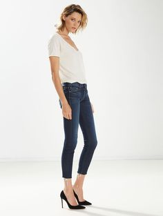MOTHER®| The Looker Ankle Fray - DENIM