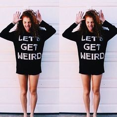 "My girl @mahoganylox is getting all kinds of weird in her new video, showing of alllllllll her new JV thangs. Tag someone who'd rock the ""lets get weird"" sweater, and get yours on JACVANEK.COM now! ✨"