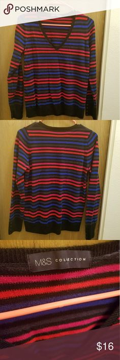 💕 Multi-stripe sweater! Love how colorful this sweater is! Pair it with red, blue, hot pink, black - love the versatality! Soft! Pair it with tights, jeans!  Label says UK Size 14, fits like a large. Marks & Spencer Sweaters Crew & Scoop Necks
