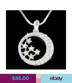 Necklaces & Pendants W Swarovski Crystal Dream Bride Crescent Moon Star Jewelry Pendant Necklace Cute #ebay #Fashion